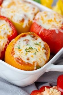 Lasagna Stuffed Peppers in a baking dish