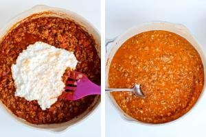 Skillet with meat sauce and cheese