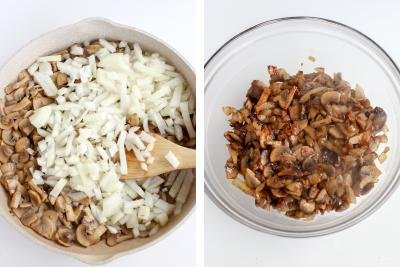 Skillet with mushrooms and onion, bowl with cooked mushrooms and onion