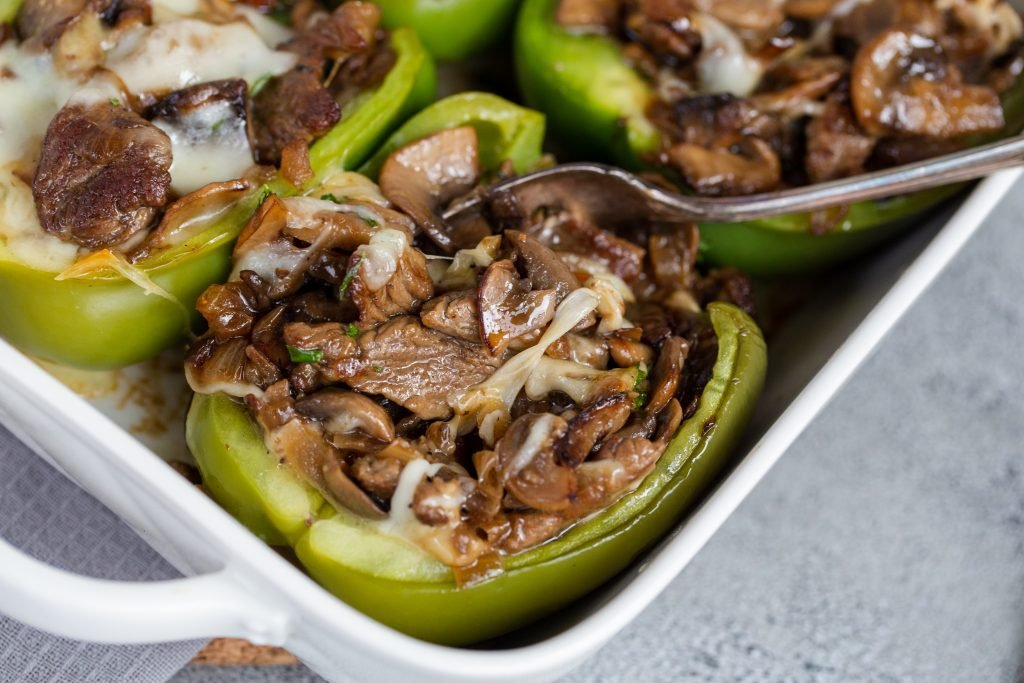 Cheesesteak Stuffed Peppers in a baking dish