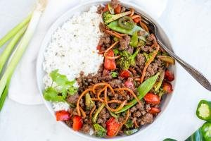 Korean Beef Stir Fry in a bowl with rice