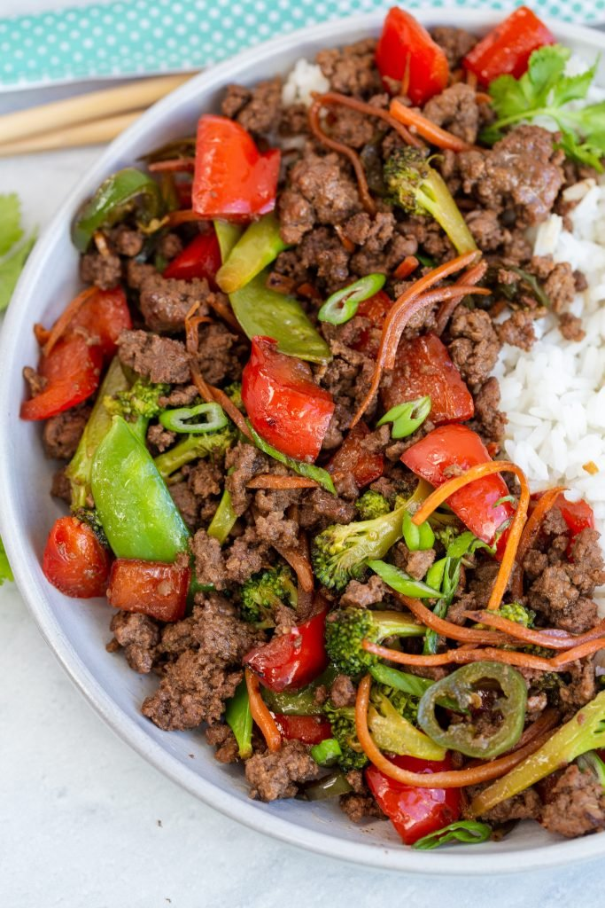 Korean Beef Stir Fry in a skillet
