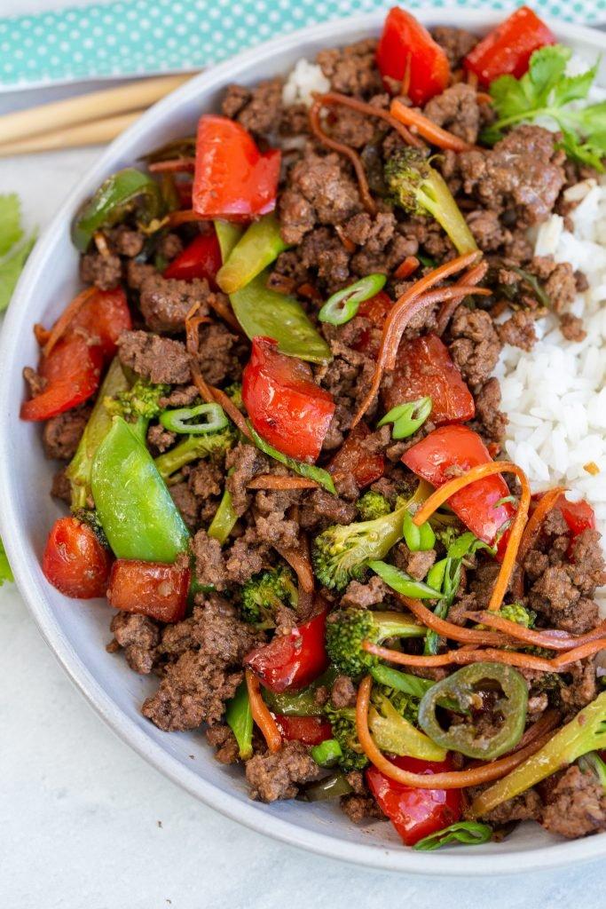 Korean Beef Stir Fry in a skillet