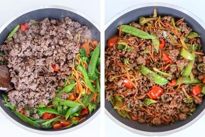 Skillet with vegetables and ground beef