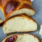 Brioche bread slices with jam