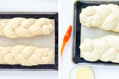 Brioche Bread raising on a tray