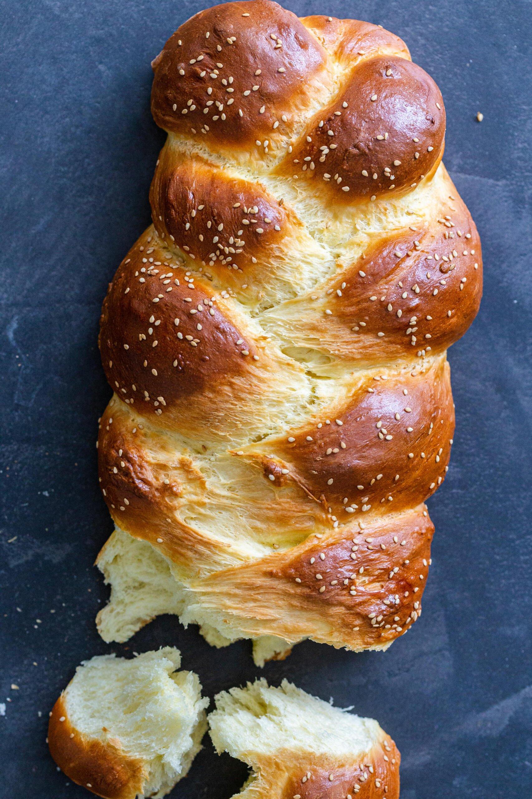 Brioche bread broken apart