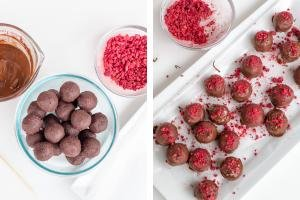 Truffles with melted chocolate, raspberries