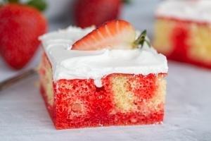 Slice of Strawberry Jello Poke Cake