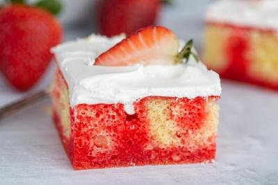Slice of Strawberry Jello Poke Cake