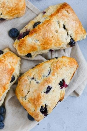 Blueberry scones on a towel