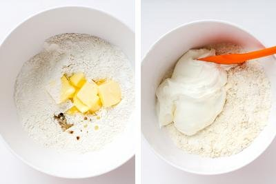 Two bowls, with flour, butter and sour cream