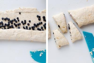 Dough with blueberries, cut scones