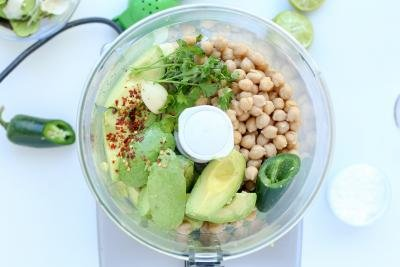 All ingredients in a food processor