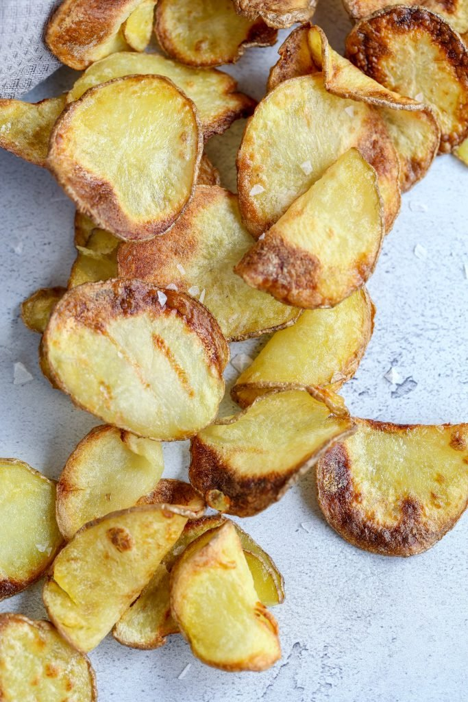 Air Fryer Potato chips on a tray