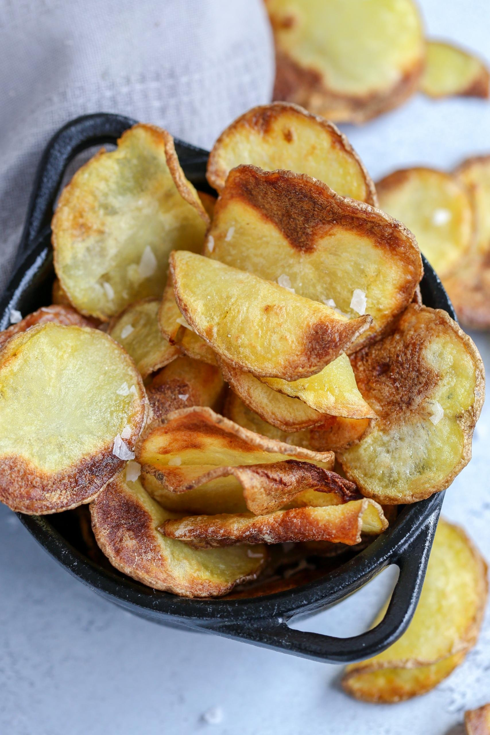 Air Fryer Potato chips in basket