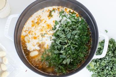 All in soup ingredients in a pot