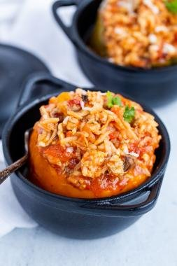 Ground Turkey-Stuffed Bell Peppers in a dish