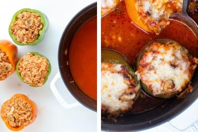 Stuffed peppers with sauce and cheesy tops
