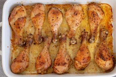 Baked chicken legs on in a dish