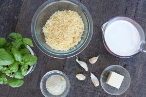 Ingredients for Homemade Alfredo on the board