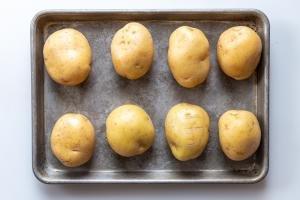potatoes on a baking dish