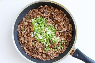 green onion with buckwheat and mushrooms