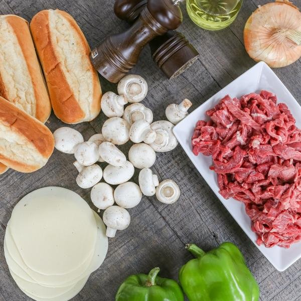 Ingredients for the Philly Cheesesteak on the tray