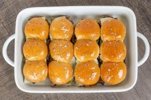 Sliders brushed in a tray