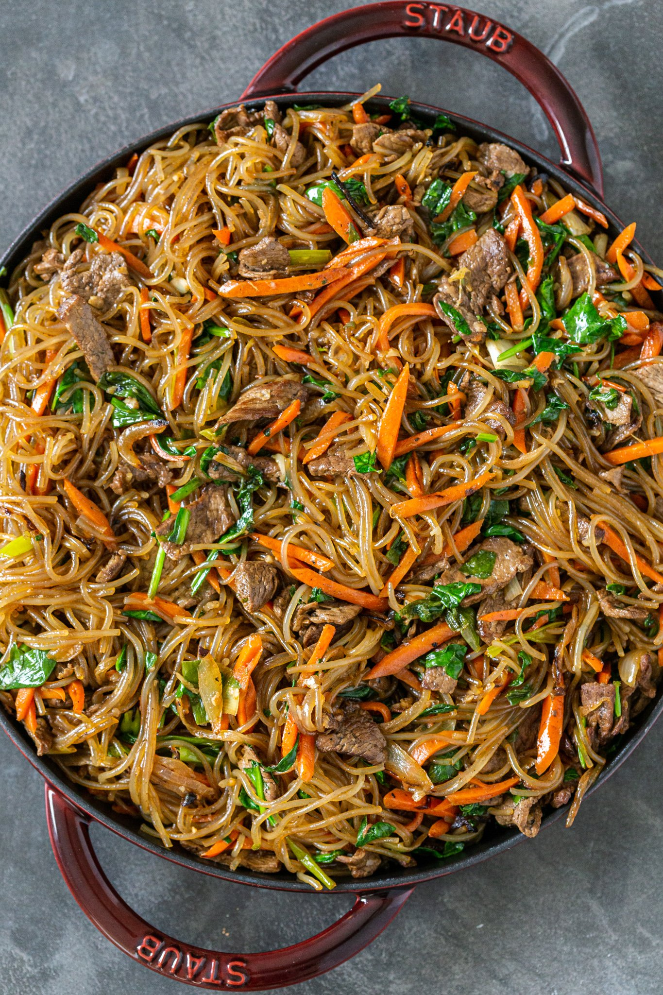 Japchae in a pan