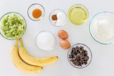 Ingredients for banana zucchini bread