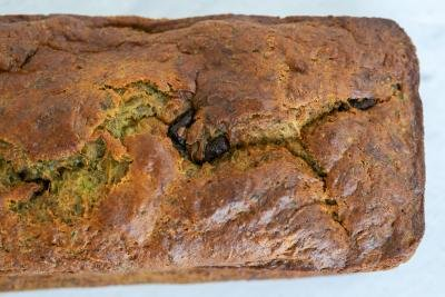 Baked zucchini bread loaf