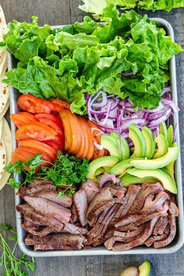Flank steak with other vegetables on the tray ready for wraps