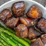 Pork Ribs in a plate with asparagus