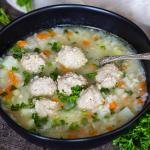 bowl of meatball soup in a bowl