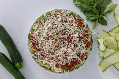 zucchini lasagna roll ups in a baking dish