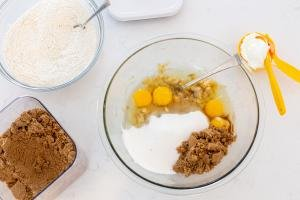 Banana Bread ingredients in a bowl