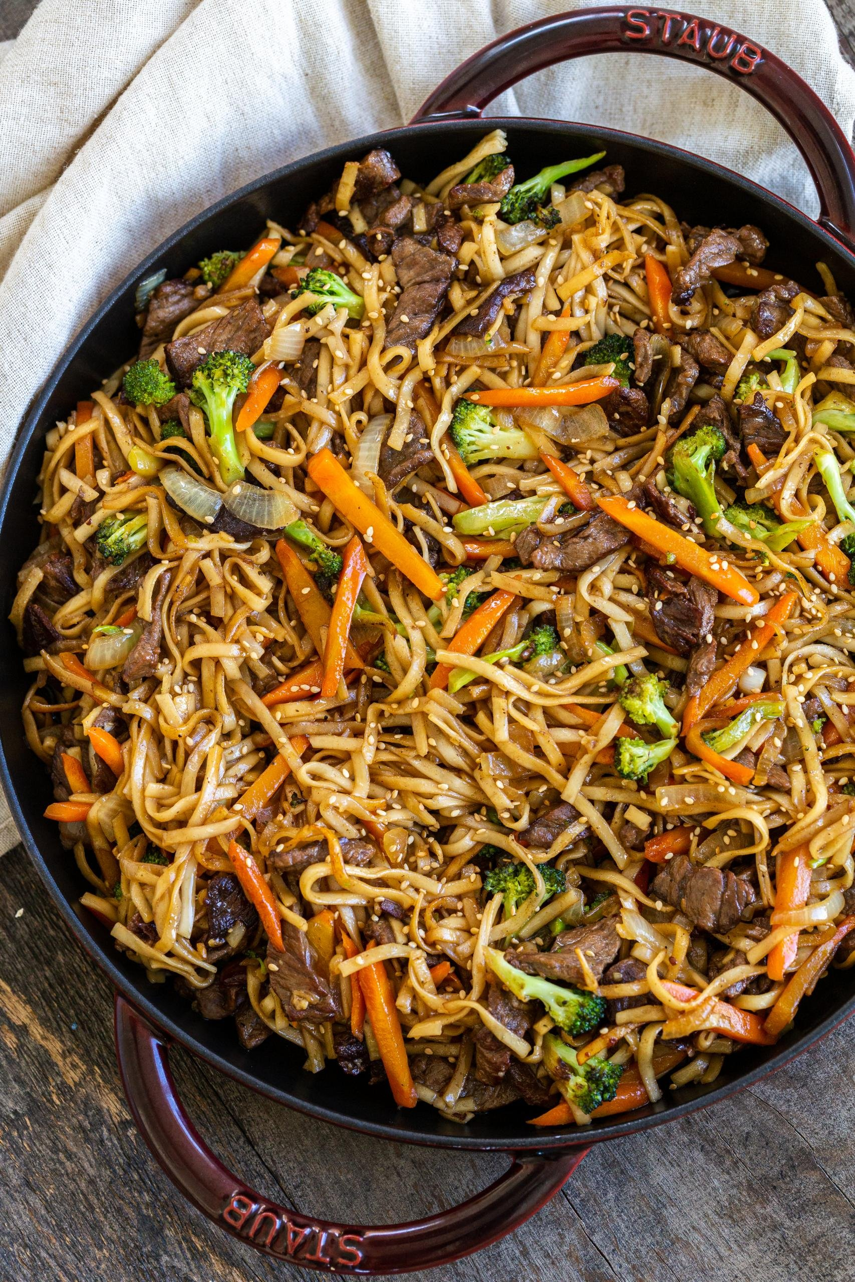 Beef Lo Mein in a cooking pan