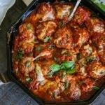 Meatballs in marinara sauce with cheese