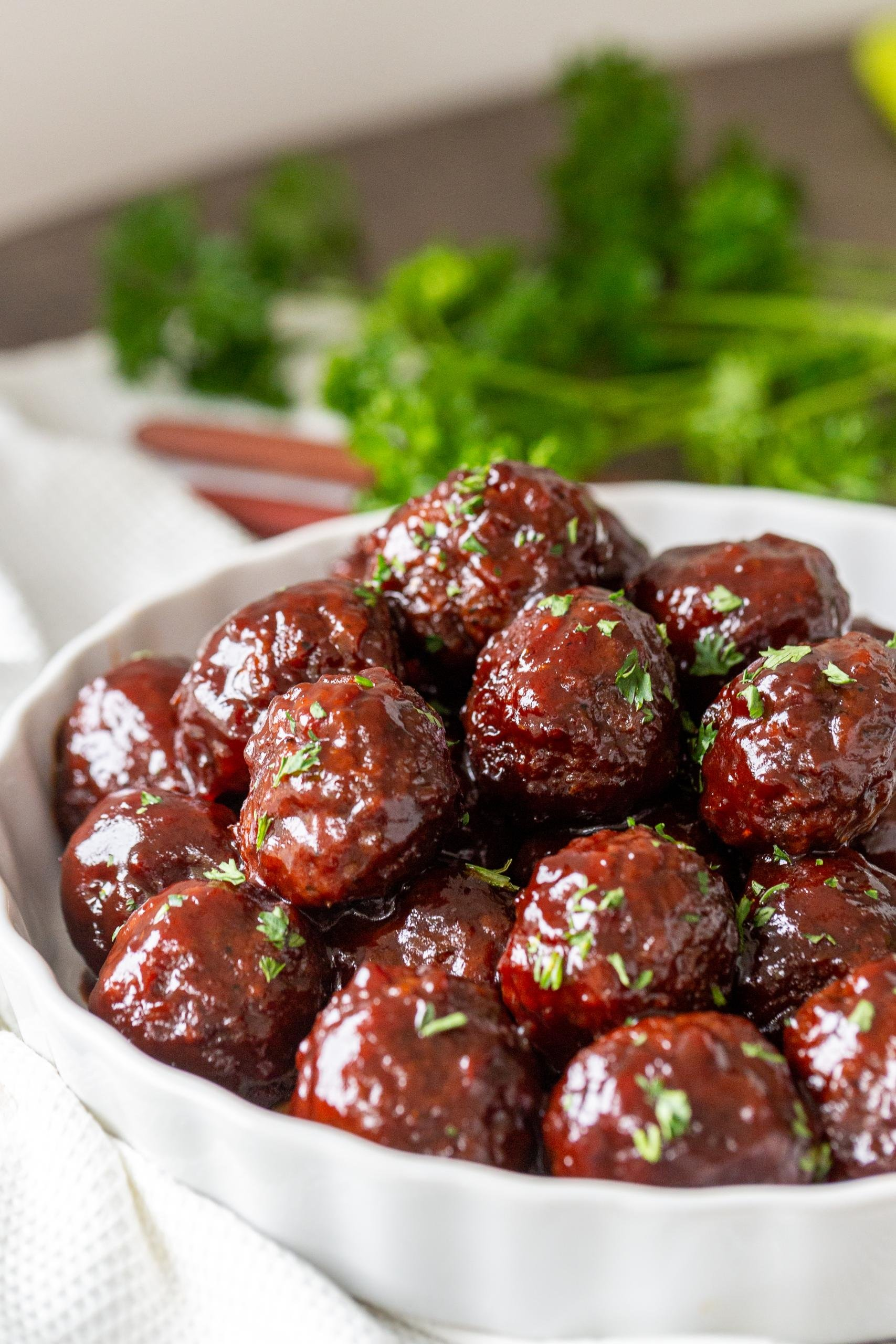 Jelly Meatballs in a bowl