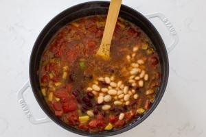 Pot with minestrone soup