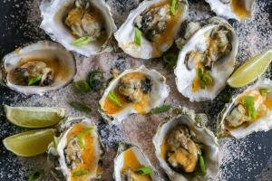 Oysters on a salty serving plate