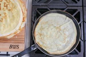 crepe in a frying pan