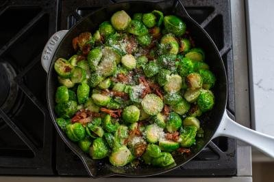 Bacon Brussel Sprouts in a skillet