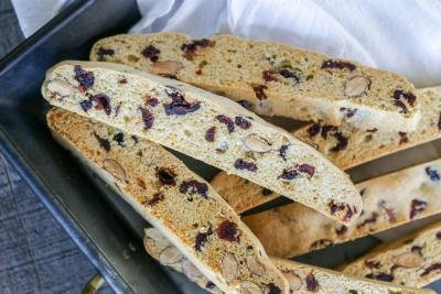 Cranberry Almond Biscotti in a tray