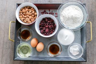 All the ingredients in a tray for biscotti