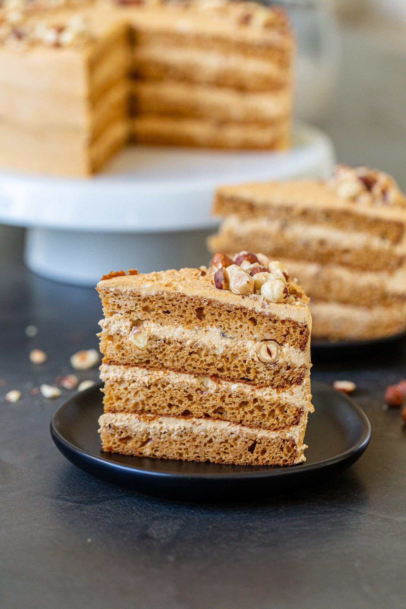 A slice of dulce de leche cake