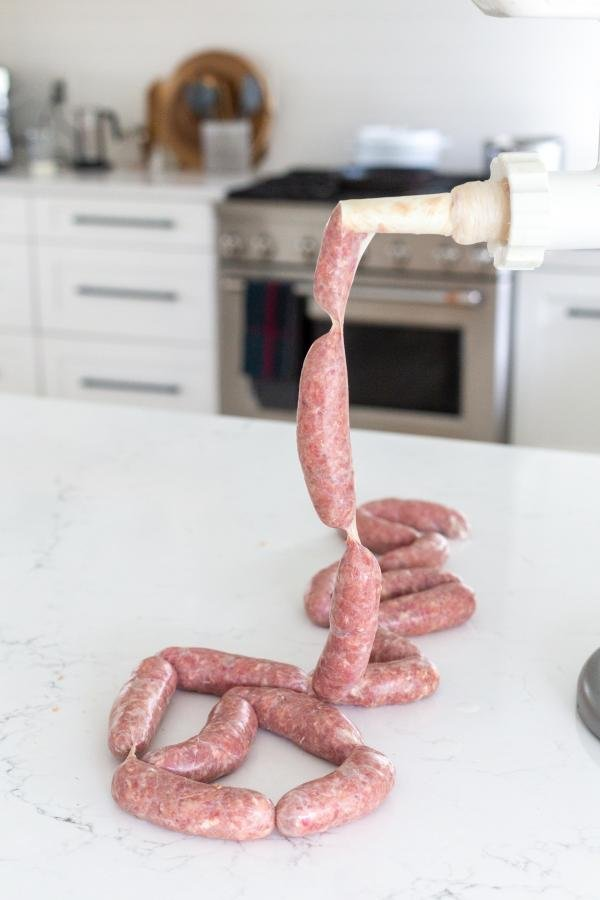 sausages being made with kitchen aid