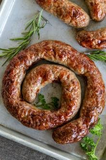 baked sausage on a baking dish