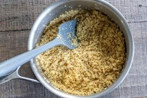 Cooked Quinoa in a pan